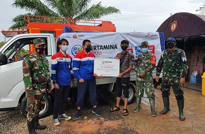 Pertamina Peduli Salurkan Bantuan Sembako Dan Obat-Obatan Ke Korban Banjir Kalsel