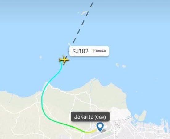 Pesawat Sriwijaya Air SJ182 Diduga Jatuh Di Sekitar Pulau Lancang Kepulauan Seribu